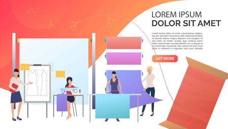 Designer, dressmakers ironing and sewing clothes in sewing studio. Fashion, custom clothing concept. Presentation slide template. Vector illustration for topics like business, tailor shop, atelier