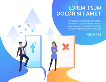 Employees challenging presentation slide template. Promotion, failure, open door, sample text, unequal career opportunities. Vector illustration for presentation slide, poster, new project
