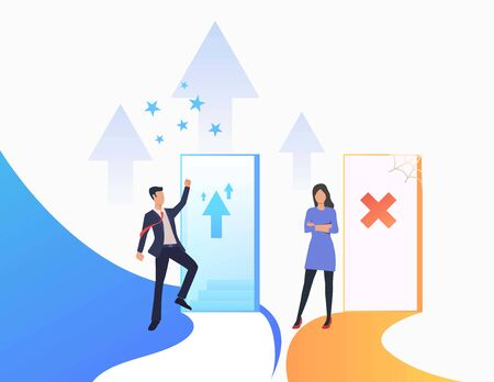 Employees challenging. Promotion, failure, open door, unequal career opportunities. Business concept. Vector illustration for presentation slide, poster, new project Ilustracja