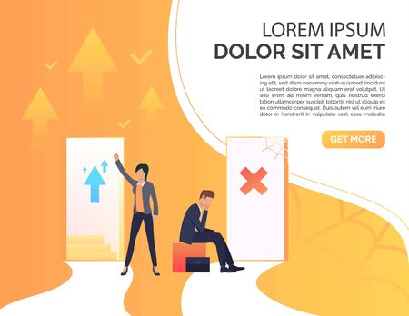Employees promoting at work presentation slide template. Promotion, failure, open door, sample text. Business concept. Vector illustration for presentation slide, poster, new project