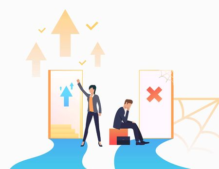 Employees promoting at work. Promotion, failure, open door, unequal career opportunities. Business concept. Vector illustration for presentation slide, poster, new project