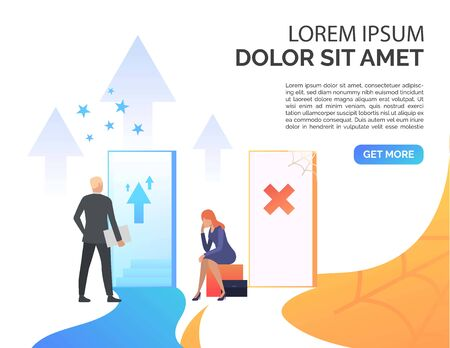 Businesspeople making career presentation slide template. Promotion, failure, open door, sample text. Business concept. Vector illustration for presentation slide, poster, new project