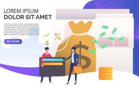 Man investing money at bank presentation slide template. Finance, investment, bank, sample text. Finance concept. Vector illustration for presentation slide, poster, new project