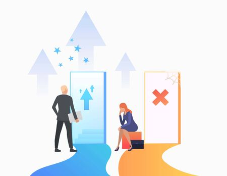 Businesspeople making career. Promotion, failure, open door, unequal career opportunities. Business concept. Vector illustration for presentation slide, poster, new project