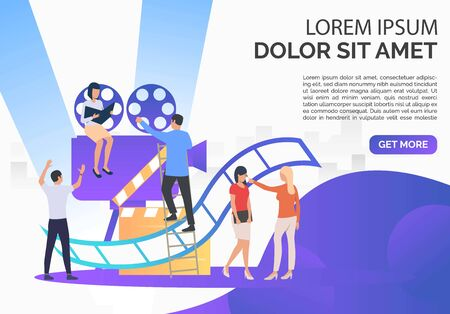 Staff creating film presentation slide template. Camera, scenario, actors, sample text. Filmmaking concept. Vector illustration for presentation slide, poster, new project