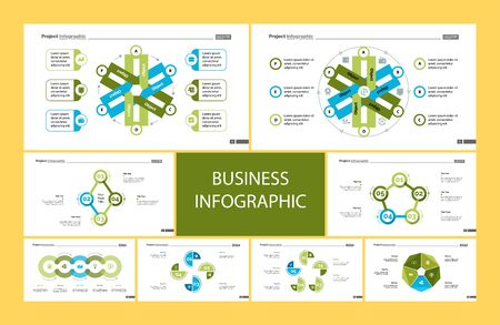Business inforgraphic design set for project management concept. Can be used for business project, annual report, web design. workflow layout. Option, process, area chart, donut, arrow graphs