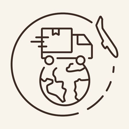 International delivery line icon. Van, globe, plane. Logistics concept. Vector illustration can be used for topics like transport, shipment, worldwide business