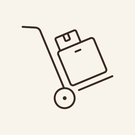 Handcart line icon. Baggage, luggage, box. Logistics concept. Vector illustration can be used for topics like transport, cargo, parcel Çizim