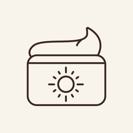 Day cream line icon. Sun on cosmetic jar. Beauty care concept. Vector illustration can be used for topics like cosmetology, dermatology, skin care