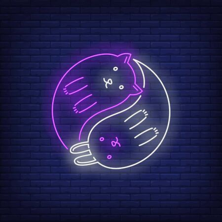 Yin yang cats neon sign. Meditation, peace, tao design. Night bright neon sign, colorful billboard, light banner. Vector illustration in neon style.