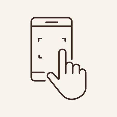Finger zooming on screen line icon. Web app, smartphone, hand gesture. Touchscreen concept. Vector illustration can be used for topics like interface, mobile phone, technologies