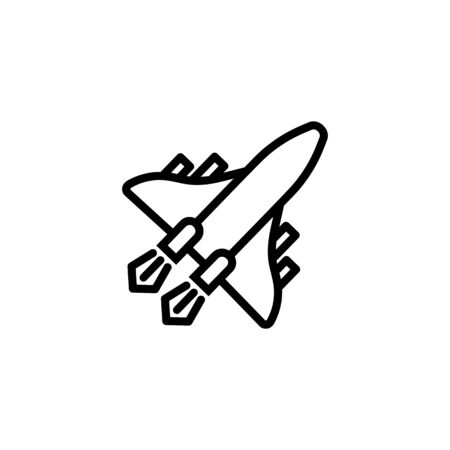 Space aircraft line icon. Jet, fighter, airplane. Aircraft concept. Vector illustration can be used for topics like air force, military, defense