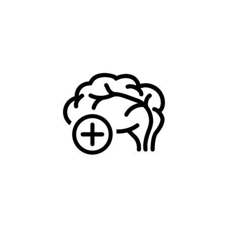 Brain health line icon. Human brain with plus symbol in circle. Neurology concept. Vector illustration can be used for topics like anatomy, neuroscience, cns