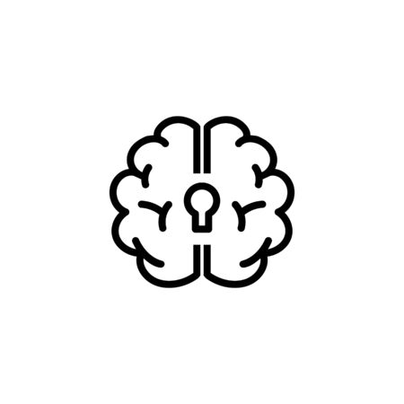 Depression line icon. Human brain with keyhole. Neurology concept. Vector illustration can be used for topics like mental health, disorder, psychology Ilustração