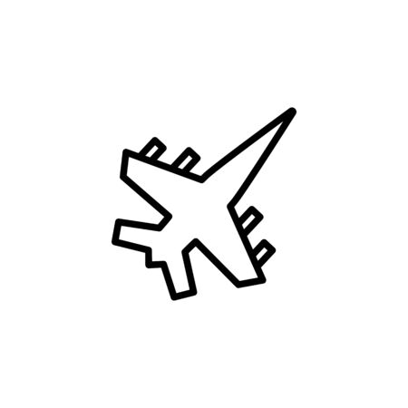 Jet line icon. Warplane, fighter, bomber. Aircraft concept. Vector illustration can be used for topics like air force, military, defense