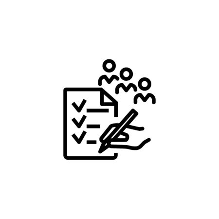 People survey line icon. Hand with pen, checklist, queue of people. Survey concept. Vector illustration can be used for topics like questionnaire, report, interview