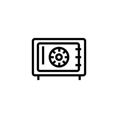Safe line icon. Metal box, deposit, strongbox. Money concept. Vector illustration can be used for topics like saving, bank, security