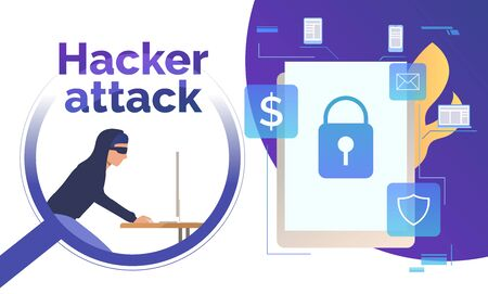 Cyber burglar hacking into device. Tablet with lock on screen, fire, money, email, shield signs. Data safety concept. Vector illustration can be used for presentations, posters, landing pages