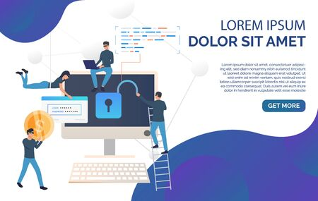 Cyber criminals landing page template. Cartoon hackers hacking into bank account, carrying password and money. Hacker attack concept. Vector illustration can be used for banner, poster, presentation Illustration