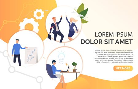 Employees celebrating success, holding presentation, thinking over ideas. Business people presentation slide template. Business concept. Vector illustration can be used for marketing, office, startup Çizim
