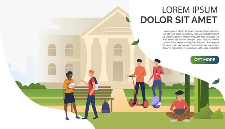 Students chatting and walking in campus park. Information, university, nature concept. Presentation slide template. Vector illustration for topics like knowledge, relaxation, education Foto de archivo - 125836323