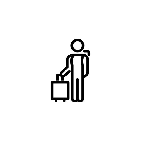 Traveller line icon. Arrival, airport, hotel. Solo travel concept. Vector illustration can be used for topics like travel, tourism, vacations Illusztráció