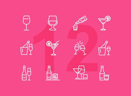 Alcoholic drinks line icon set. Cocktail, wine, strong drink. Alcohol concept. Can be used for topics like restaurant, bar, celebration, party Imagens - 126125223