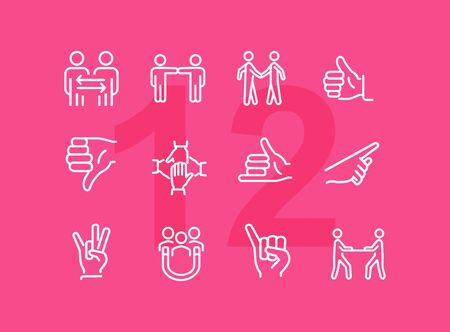 Gesturing line icon set. Handshake, like, thumb down. Body language concept. Can be used for topics like dealing, customer feedback, communication Stock Vector - 126125301