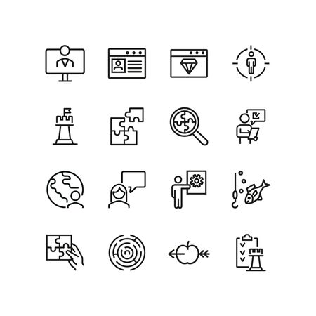 Business strategy line icon set. Presentation, target, chess. Business concept. Can be used for topics like project management, leadership, business process