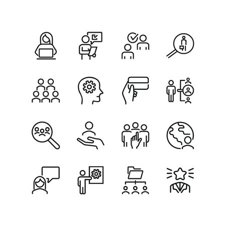 Jobs line icon set. Candidate, employee, manager. Business concept. Can be used for topics like human resource, career, selection