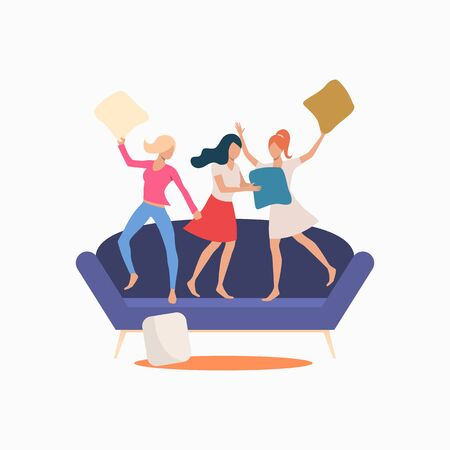 Young women standing on couch and pillow fighting. Fun, lifestyle, party concept. Vector illustration can be used for topics like friendship, weekend, leisure