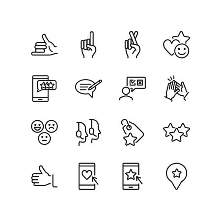 Reviews line icon set. Like, support service, rate. Retail concept. Can be used for topics like customer feedback, opinion, survey Stock Illustratie