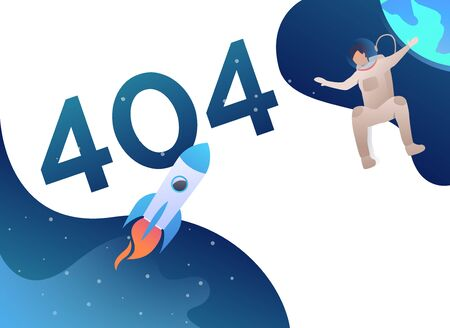 Error four hundred and four, astronaut and rocket in open space. Code, webpage, failure concept. Landing template. Vector illustration for topics like web technology, Internet