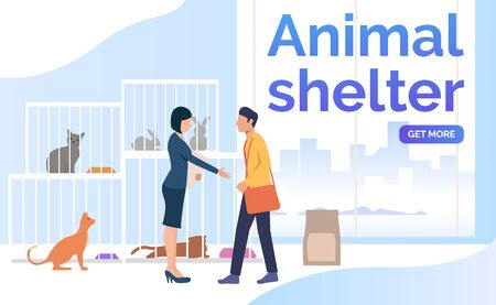 Man adopting pet from animal shelter. Homeless pets, help concept. Poster or landing template. Vector illustration for topics like animal shelter, adoption, charity