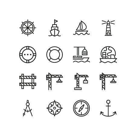 Ocean port icons. Set of line icons. Anchor, compass, cruise. Nautics concept. Vector illustration can be used for topics like seamanship, nautics
