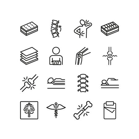 Orthopedics line icons. Set of line icons. Broken bone, caduceus, insomnia. Orthocare concept. Vector illustration can be used for topics like treatment, surgery Stock Illustratie
