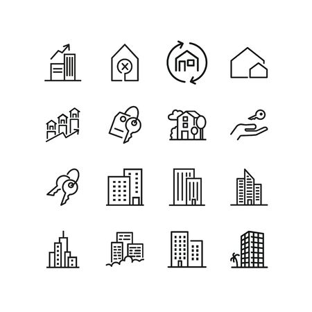 Real estate icons. Set of line icons. Apartment houses, big city, house. Immovable property concept. Vector illustration can be used for topics like urban construction, town planning Vectores