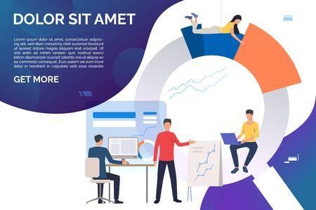 Workgroup building diagram, holding presentation, analyzing reports. Marketing, data, growth chart. Analysis concept. Vector illustration can be used for posters, webpage design, landing page template Illustration