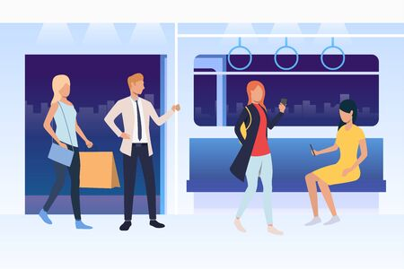 People sitting and standing in subway train. Passengers using smartphones, holding bags. Public transport concept. Vector illustration can be used for topics like commuting, metro, city