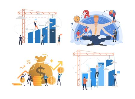 Set of entrepreneurs developing business. Male and female cartoon characters working with financial charts. Vector illustration for presentation, commercial, training Çizim