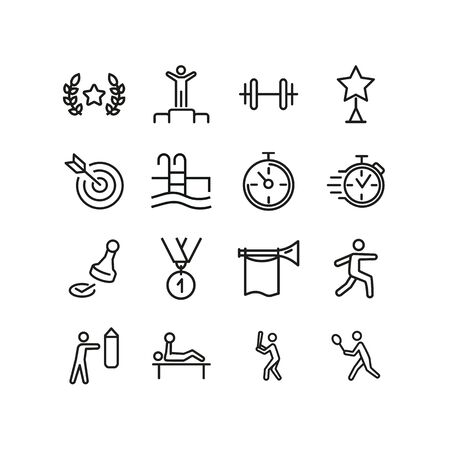 Sportsmanship line icon set. Sportsman, athlete, swimming pool, timer, boxing, baseball. Sport concept. Can be used for topics like competition, championship, contest