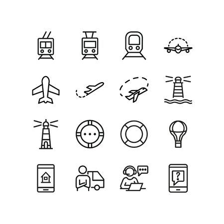 Transportation line icon set. Plane, train, trolley, lighthouse, courier. Transport concept. Can be used for topics like delivery, travel, shipment, sea Ilustração
