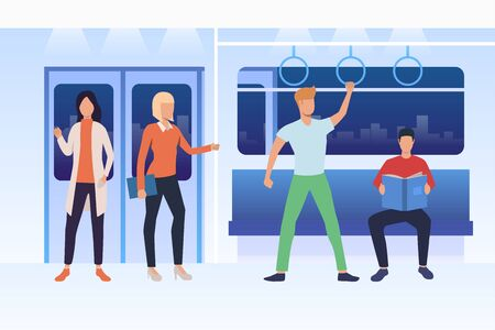 Commuters travelling by subway train. Men and women sitting, standing and reading in carriage. Public transport concept. Vector illustration can be used for topics like passengers, city, tube