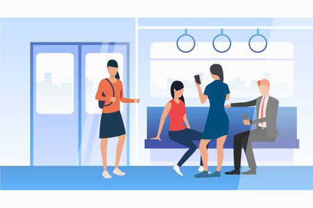 People using mobile phones in subway train. Men and women sitting and standing in carriage. Public transport concept. Vector illustration can be used for topics like passengers, city, commuting