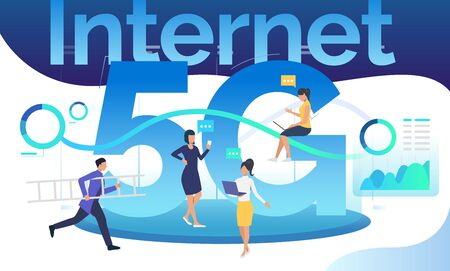 Workgroup using 5G network. Communication, internet, support service. Technology concept. Vector illustration can be used for topics like web design, presentation slides, posters Illustration