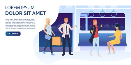 Passengers using smartphones, holding bags in train carriage. Public transport concept. Vector illustration can be used for presentation, posters, landing pages