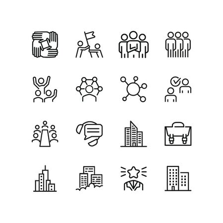 Work chain line icon set. Stack of hands, leadership, meeting, office building. Team concept. Can be used for topics like teamwork, unity, success