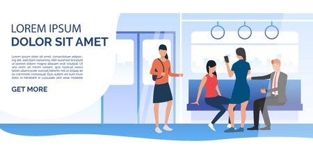 Train passengers using mobile phones in carriage. City, commuting, station. Public transport concept. Vector illustration can be used for presentation, posters, landing pages Stock Vector - 127148637