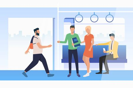 Commuting passengers travelling by train. Using smartphone, carriage with open doors. Public transport concept. Vector illustration can be used for topics like city, commuters, station Ilustração