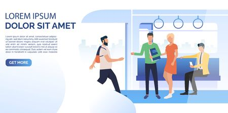 Commuters using smartphone, standing, walking in train carriage with open doors. Public transport concept. Vector illustration can be used for web page design, poster or banner templates